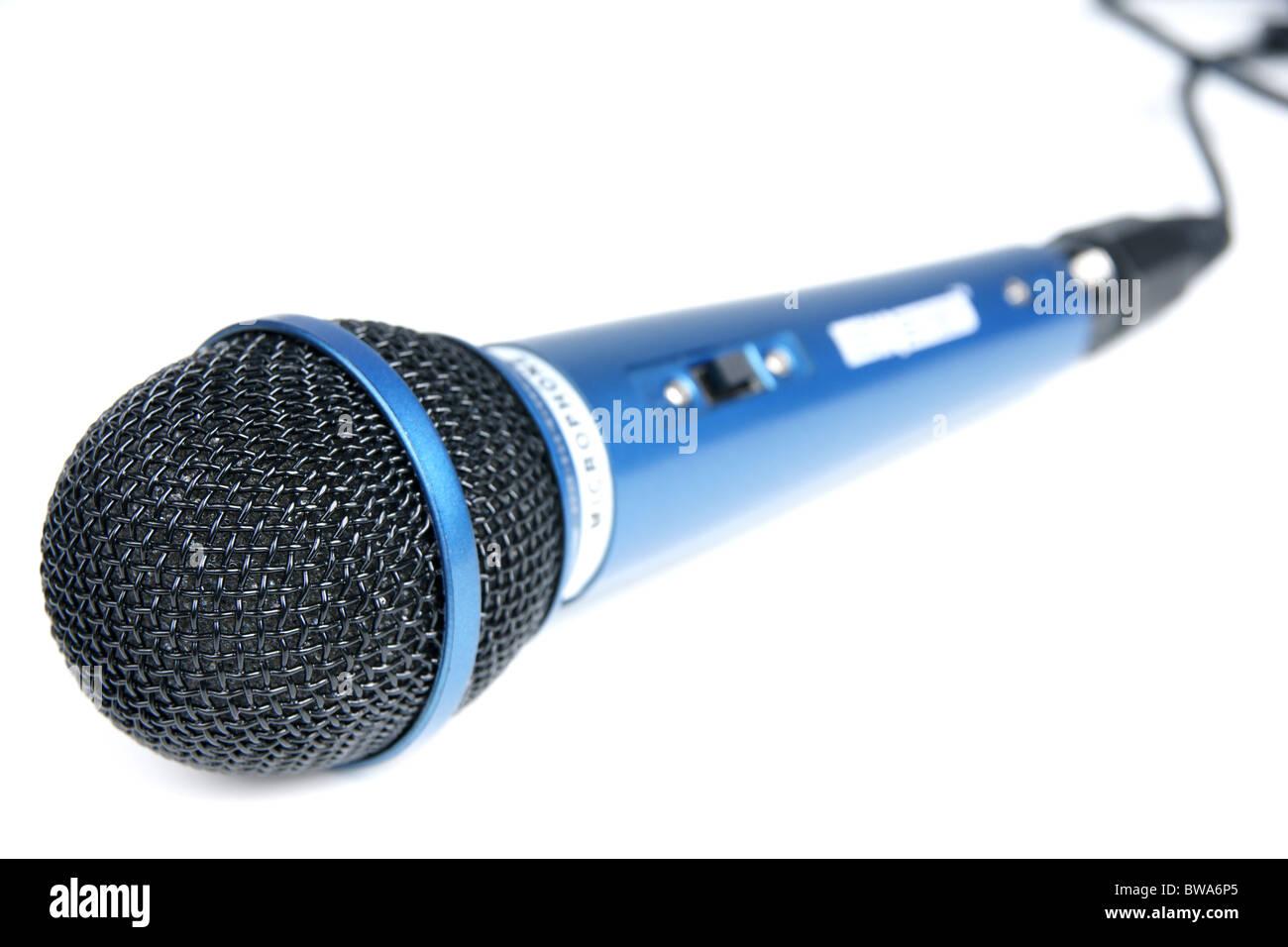 Blue big microphone to karaoke miusic close-up - Stock Image