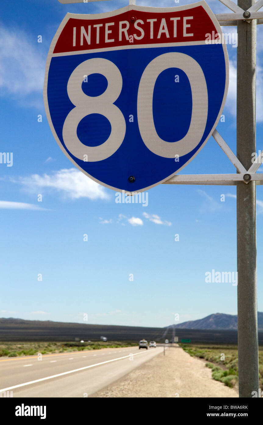 Interstate 80 road sign in northeast Nevada, USA. - Stock Image