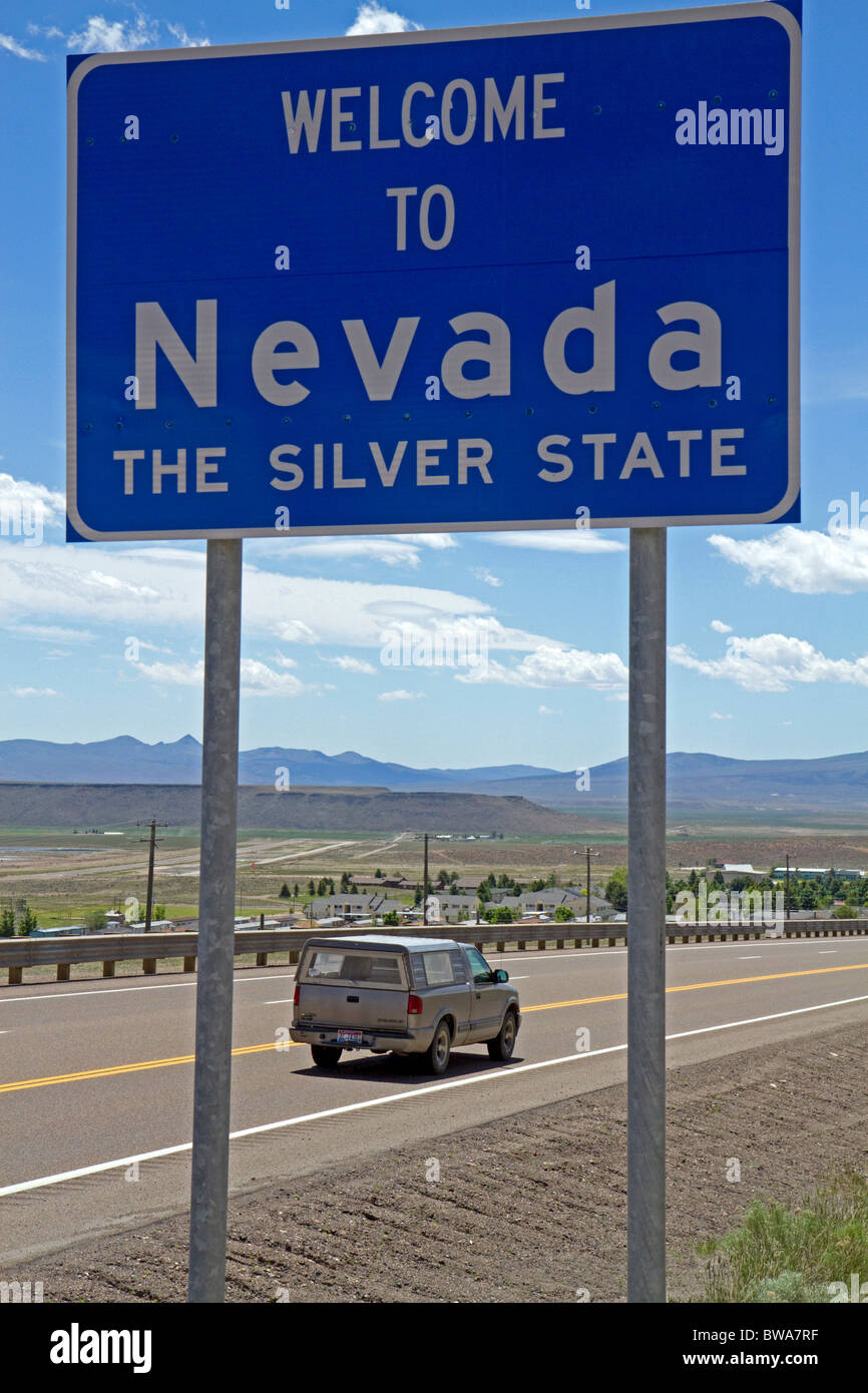 Welcome to Nevada road sign on U.S. Route 93 at Jackpot, Nevada, USA. Stock Photo