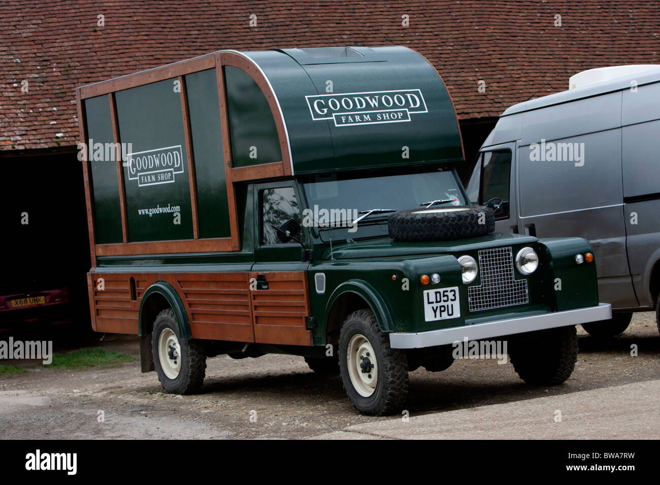 A green Goodwood Farm Shop Land Rover pictured at Goodwood c4492e488fdb6