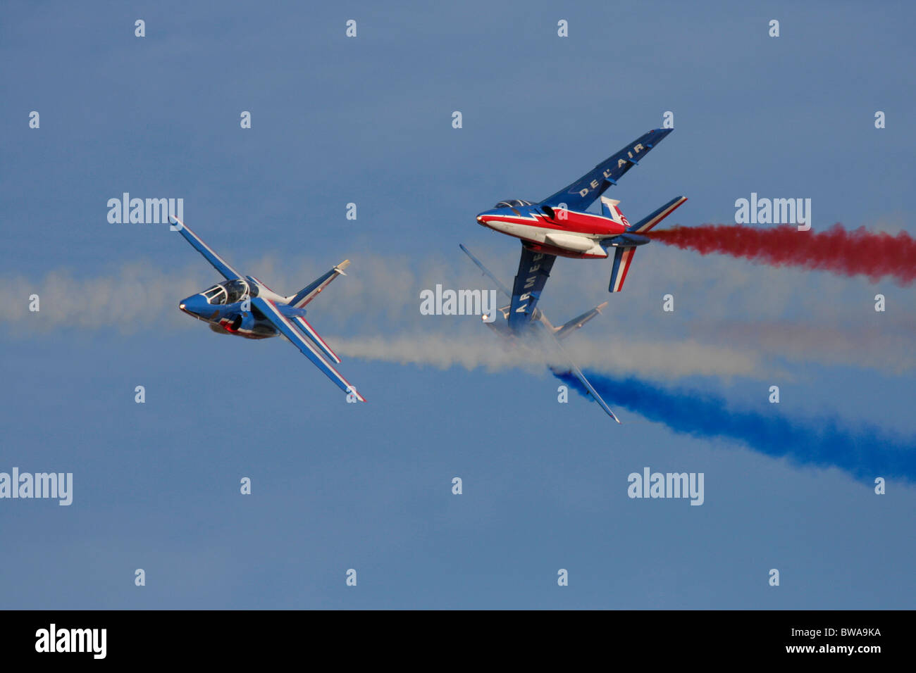 Patrouille de France Alpha Jets flying in an air display - Stock Image