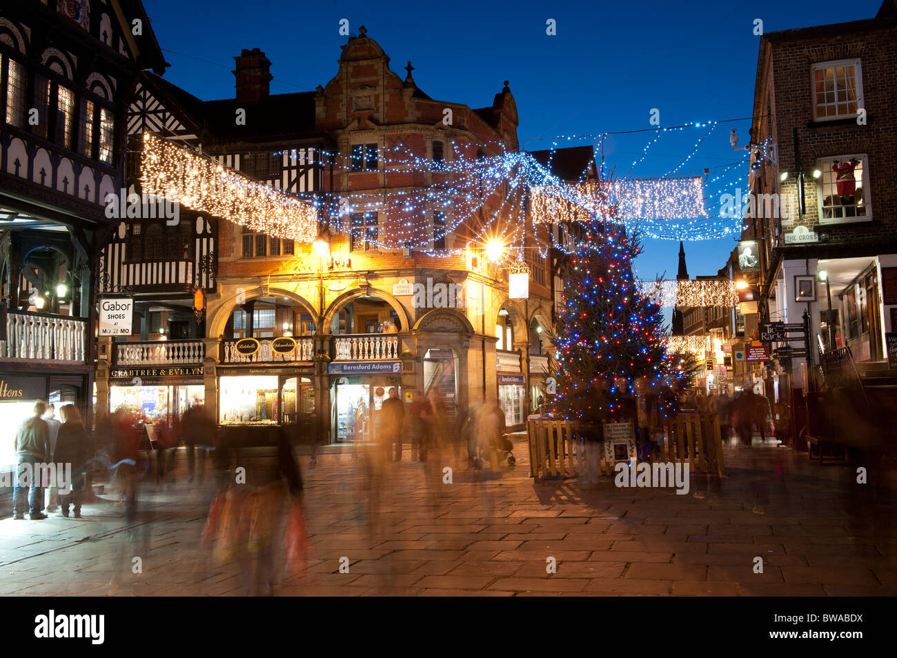 The Cross Bridge Steet at Christmas Chester Cheshire - Stock Image