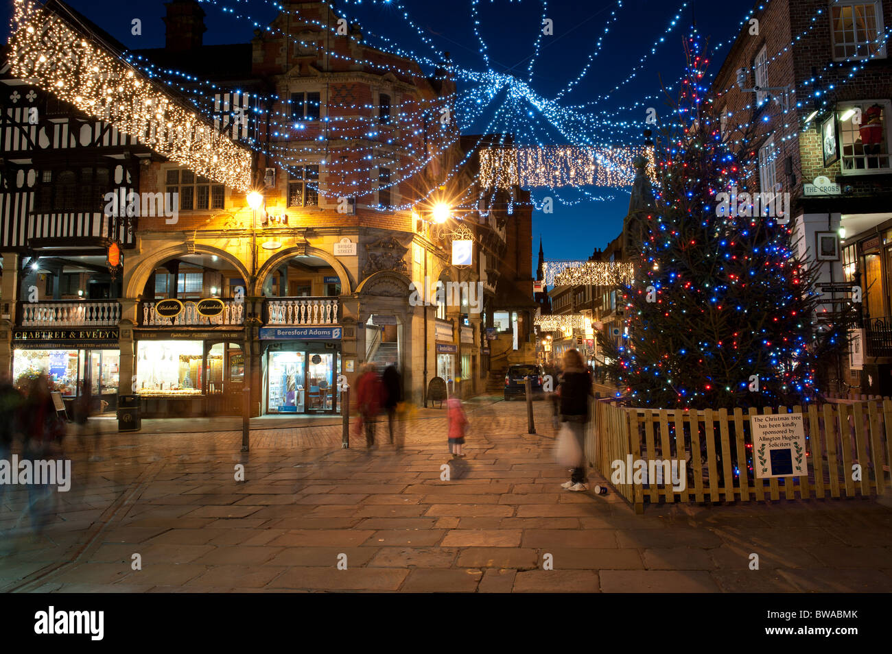 The Cross Bridge Street at Christmas Chester Cheshire - Stock Image