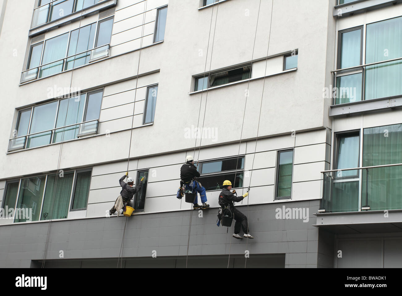 Abseiling window cleaners at work Stock Photo