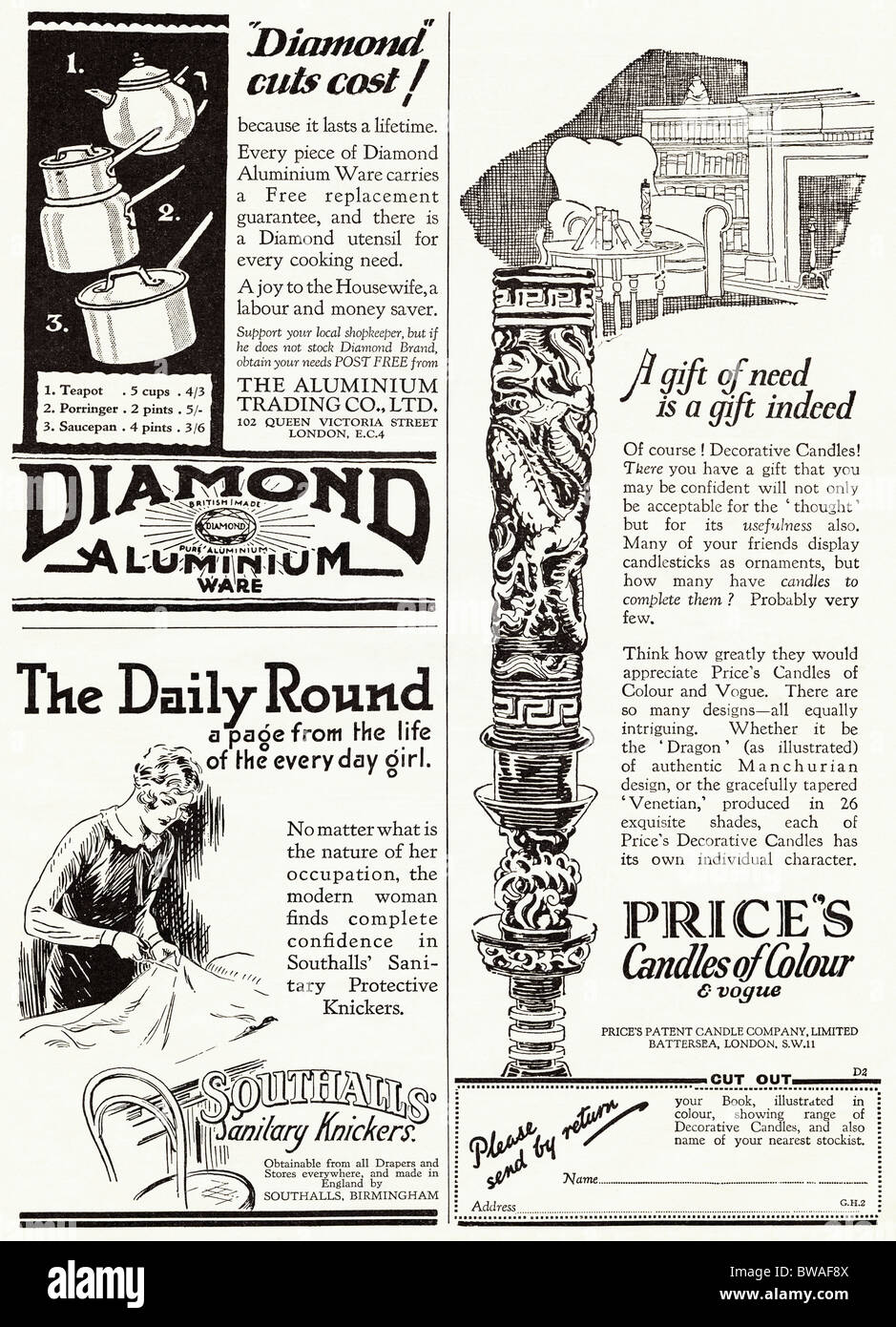 Full page of advertisements in English magazine dated 1928 - Stock Image