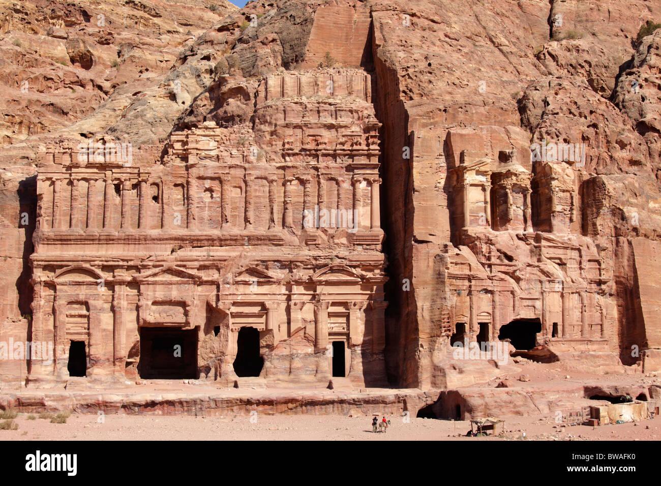 Corinthian tomb and palace tomb, the royal tombs, Petra, Jordan Stock Photo