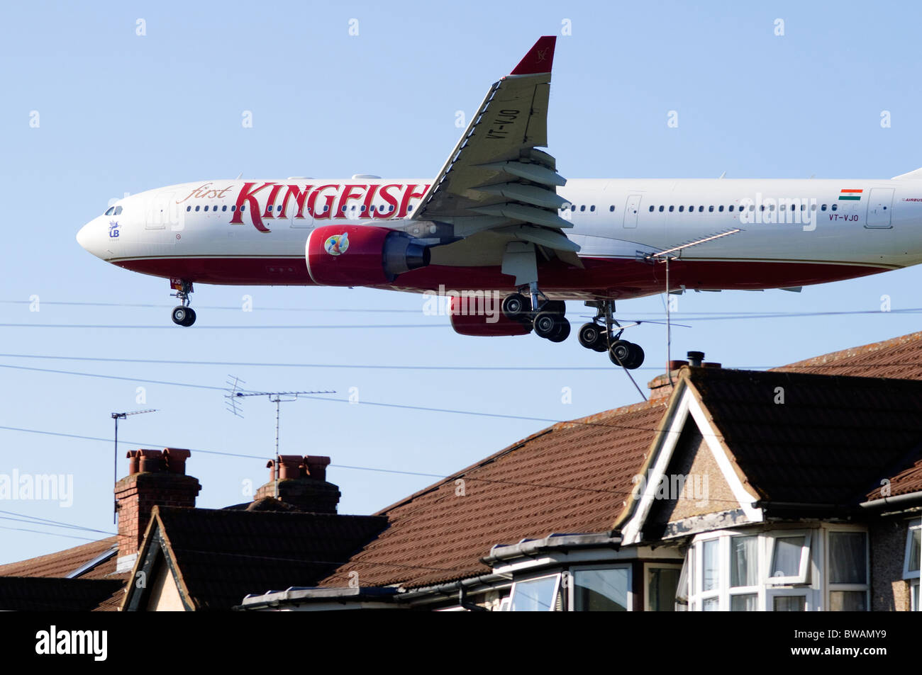Heathrow Runway Approach By Airbus A330 Kingfisher Airlines Plane