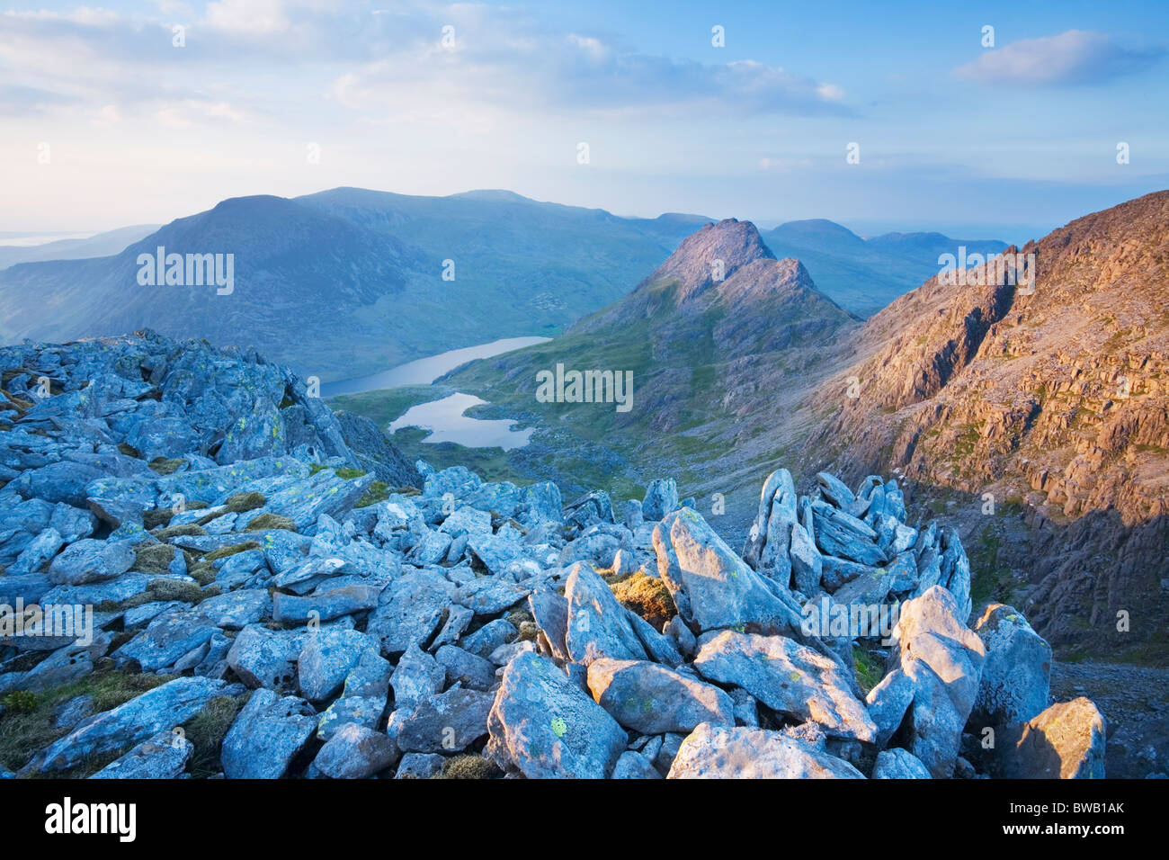 Mt Tryfan and the Ogwen Valley from Glyder Fach. Snowdonia National Park. Conwy. Wales. UK. Stock Photo