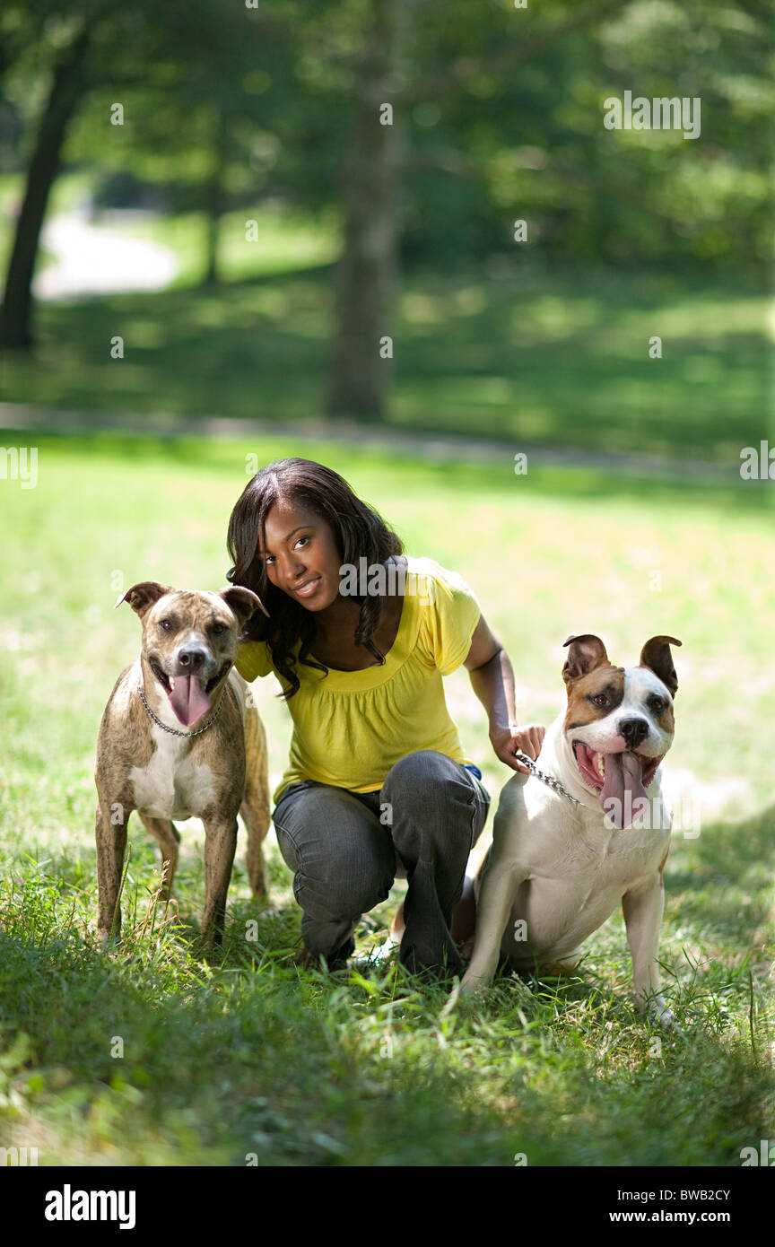 Woman with her two pet dogs - Stock Image