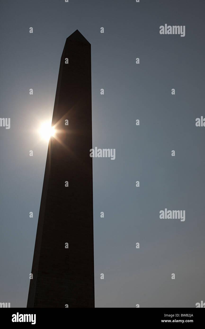 Sunlight and washington monument, Washington DC, USA - Stock Image