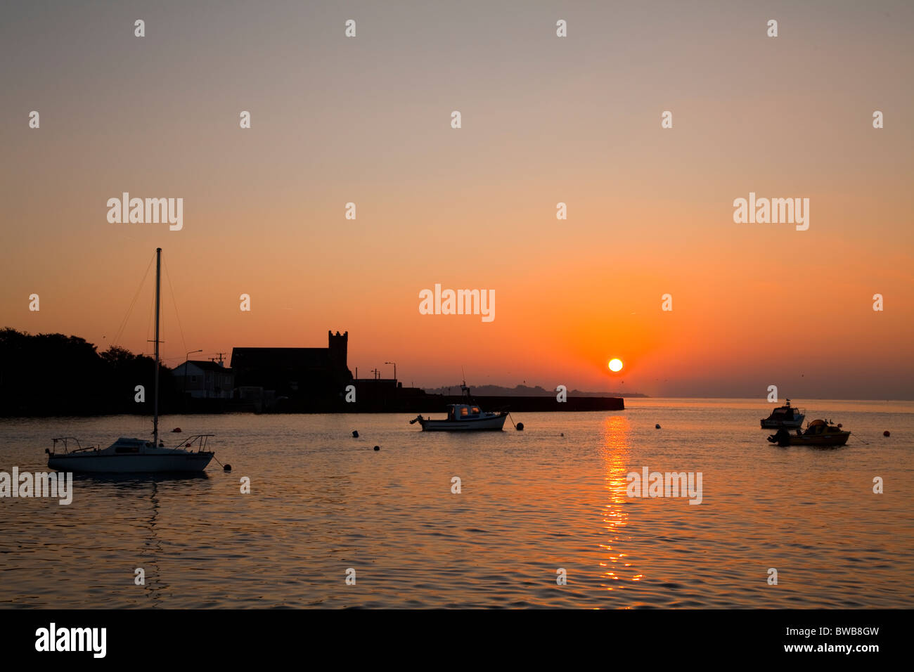 Sunrise over Abbeyside, Across Dungarvan Harbour, County Waterford, Ireland - Stock Image