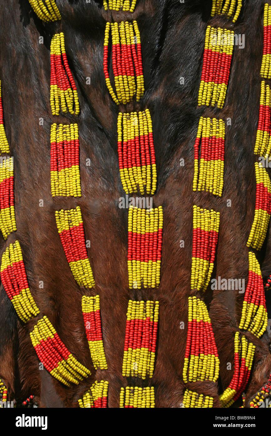 Hamer Tribe Skin With Beadwork, Omo Valley, Ethiopia - Stock Image