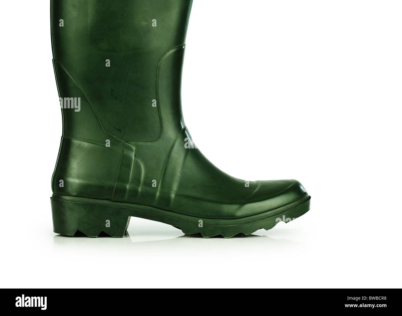 Green rubber boot Stock Photo