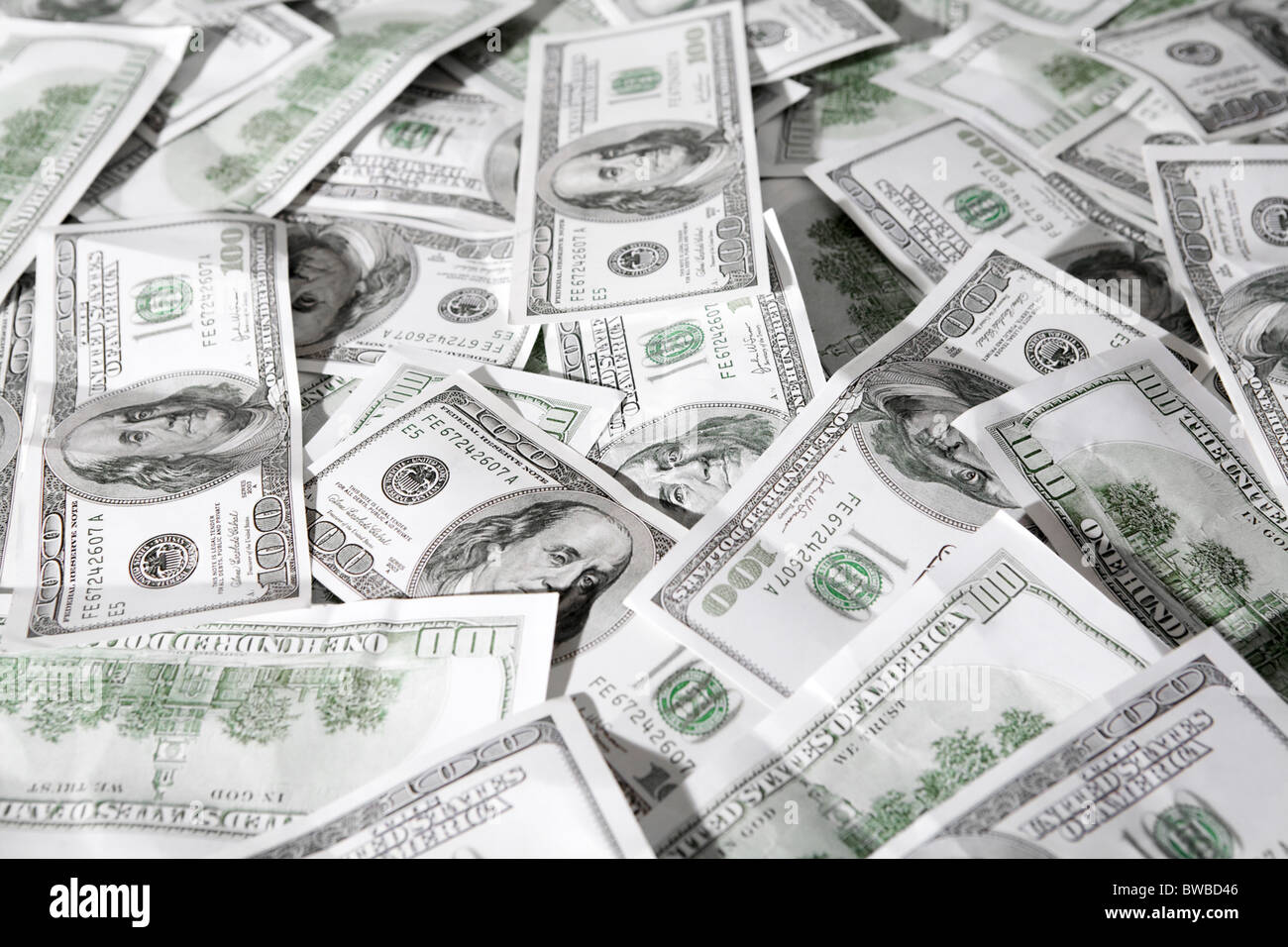 Close-up of a lot of American dollars - Stock Image