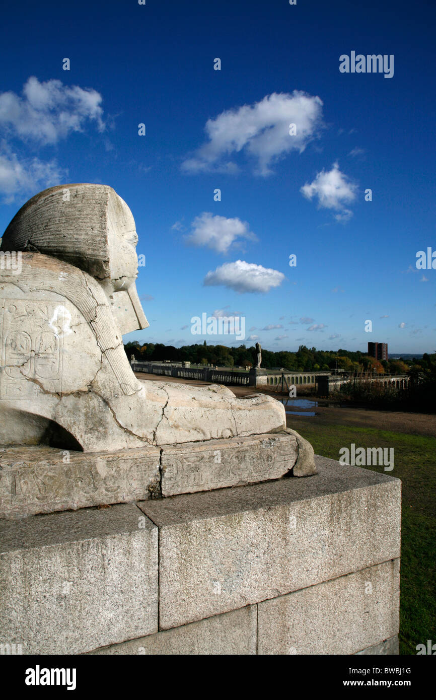 Stone sphinx standing on the remains of the old Crystal Palace in Crystal Palace Park, Sydenham, London, UK - Stock Image