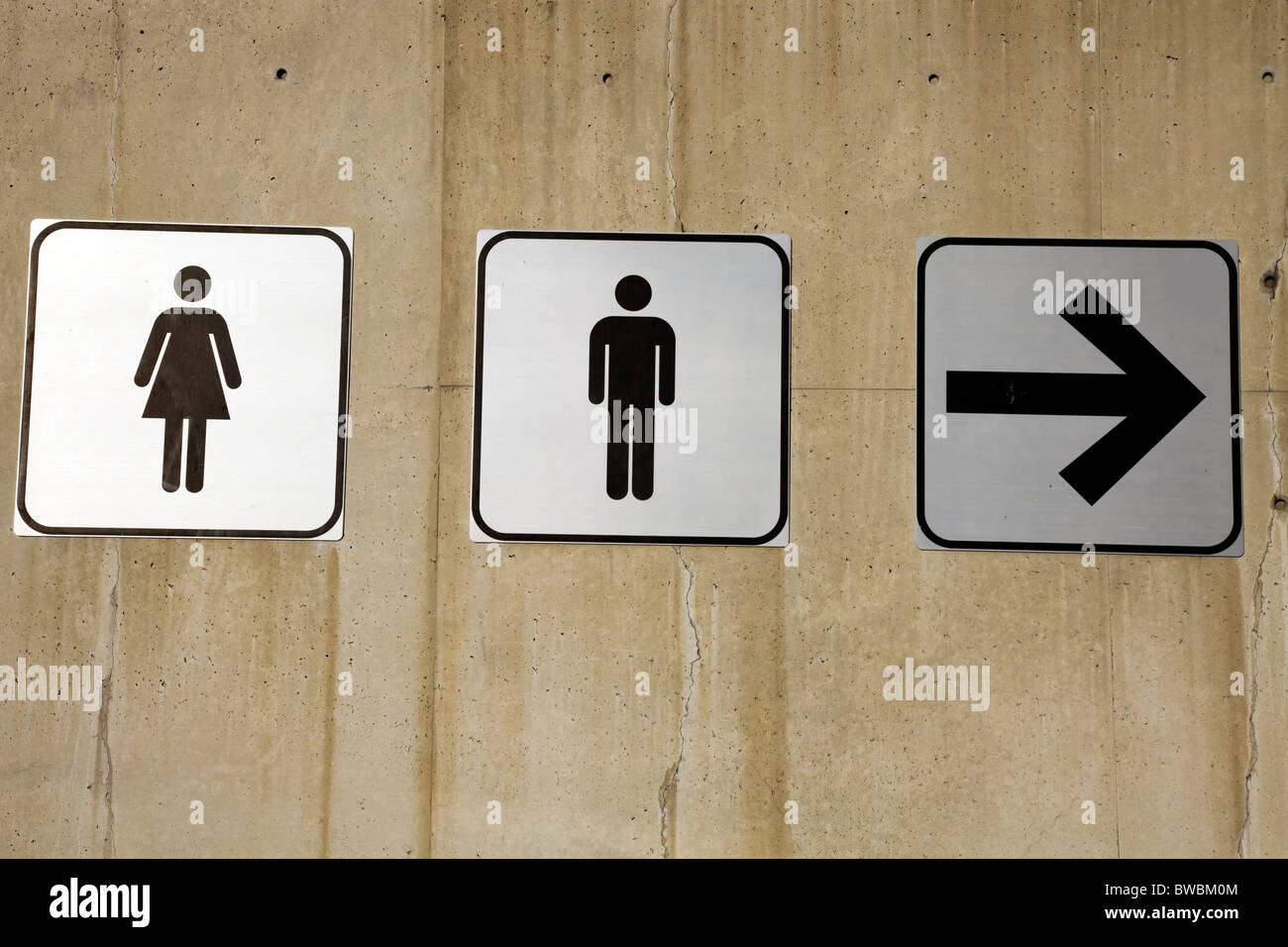 Couples this way restroom signs on concrete wall