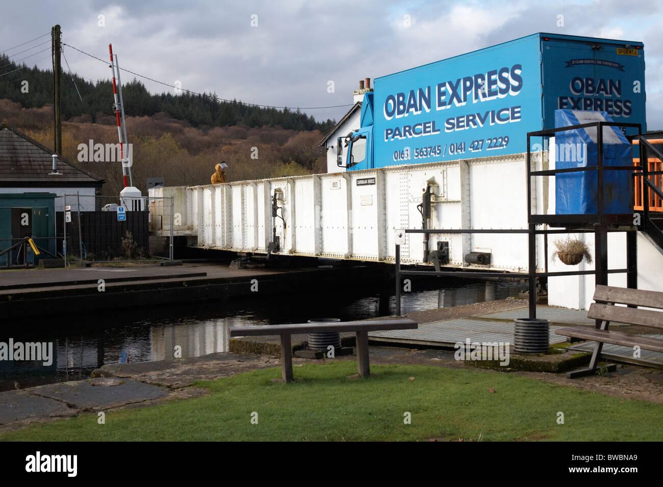 Lorry crossing Crinan Canal at Cairnbaan Bridge. B841. Argyll and Bute. Scotland - Stock Image