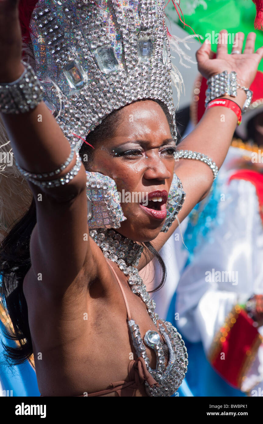 Showgirl with costume malfunction at the Notting Hill Carnival 2010, London, UK - Stock Image