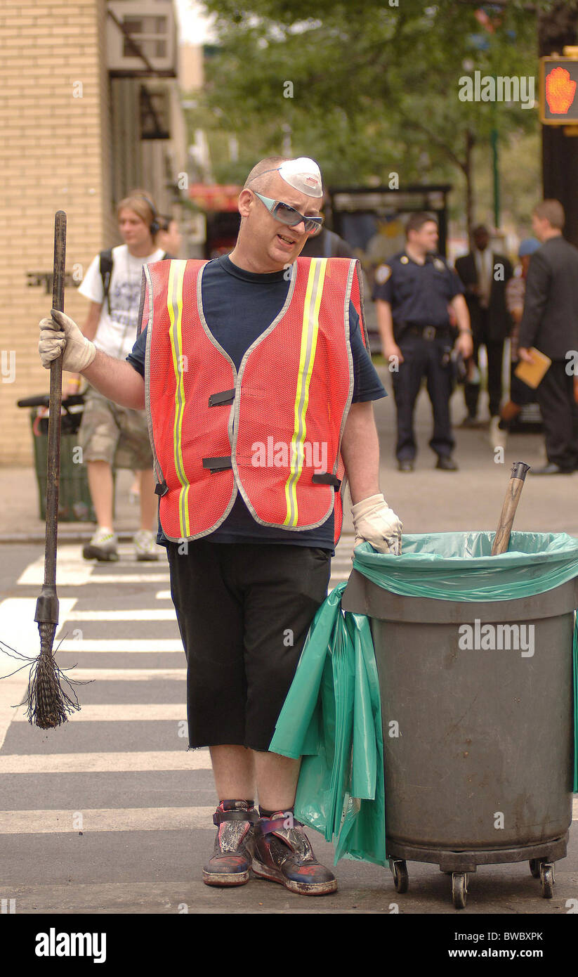 Boy George Court-Ordered Community Service Sweeping Streets for Department of Sanitation Stock Photo