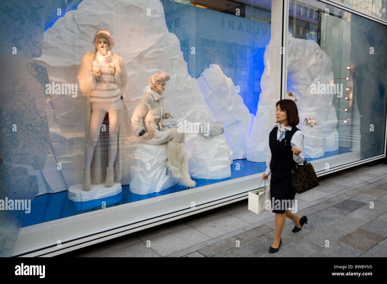 Channel store window at Ginza Itchome, Tokyo, Japan. Stock Photo