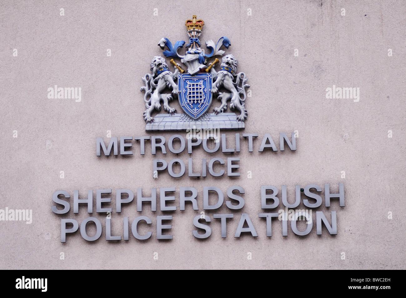 Metropolitan Police Shepherds Bush Police Station Sign, London, England, UK - Stock Image