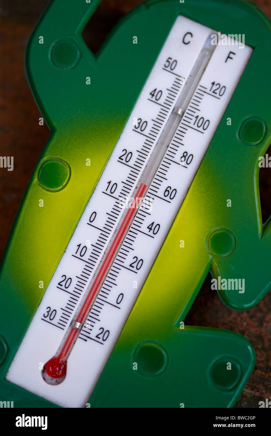 Weather, Measurement, Instruments, Celsius and Fahrenheit red alcohol outdoor garden thermometer. - Stock Image