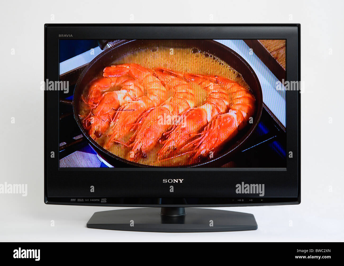Communications, Media, Television, Sony Bravia Wide Flat Screen LCD TV on a white background - Stock Image