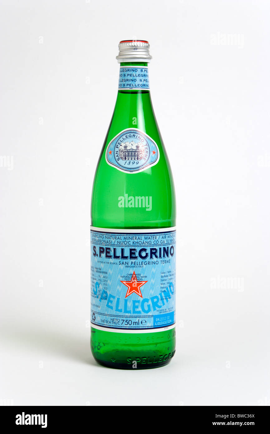 Drinks, Cold, Water, Glass bottle of Pellegrino sparkling mineral water against a white background. - Stock Image