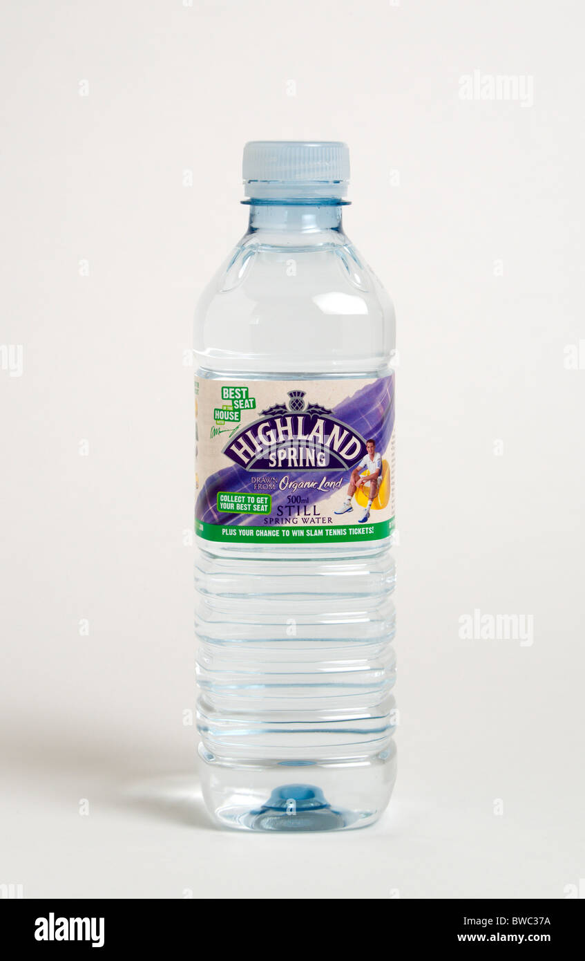 Drinks, Cold, Water, Plastic bottle of Highland Spring still mineral water against a white background. Stock Photo