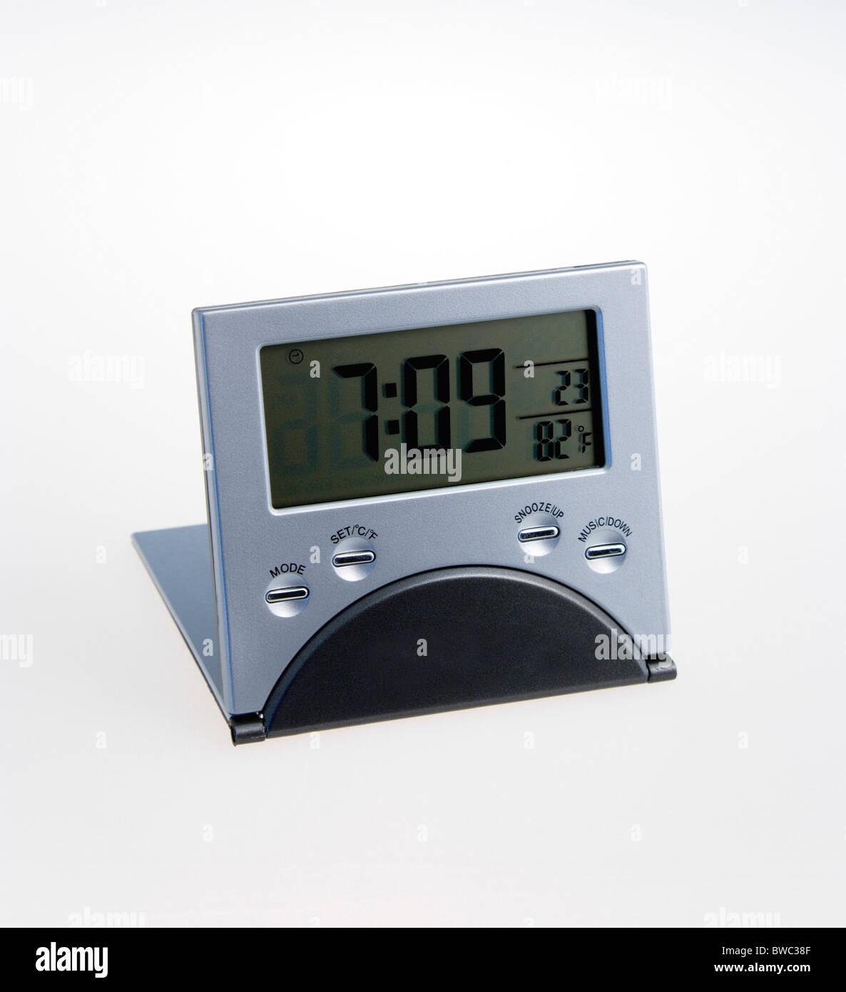 Time, Clocks, Digital, Digital travel alarm clock. - Stock Image