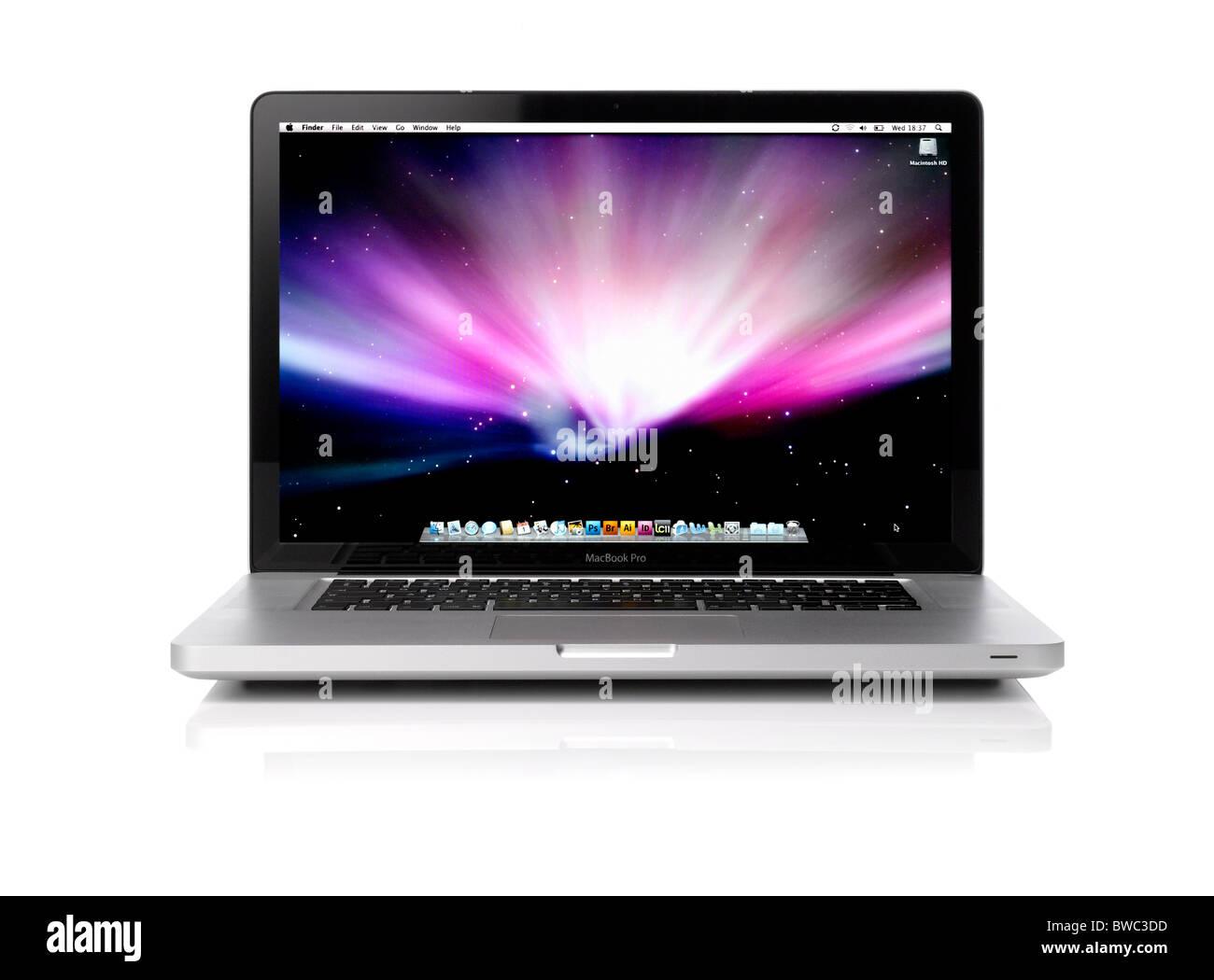 An open Apple laptop computer - Stock Image