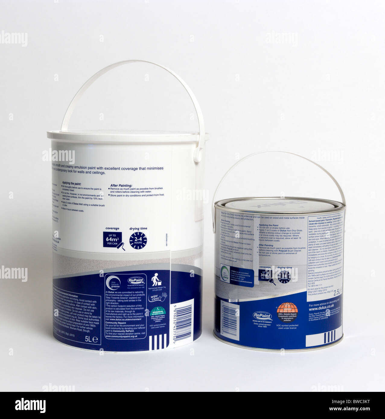 Architecture, Construction, Decorating, Pots of gloss and emulsion paint showing coverage and drying times. - Stock Image