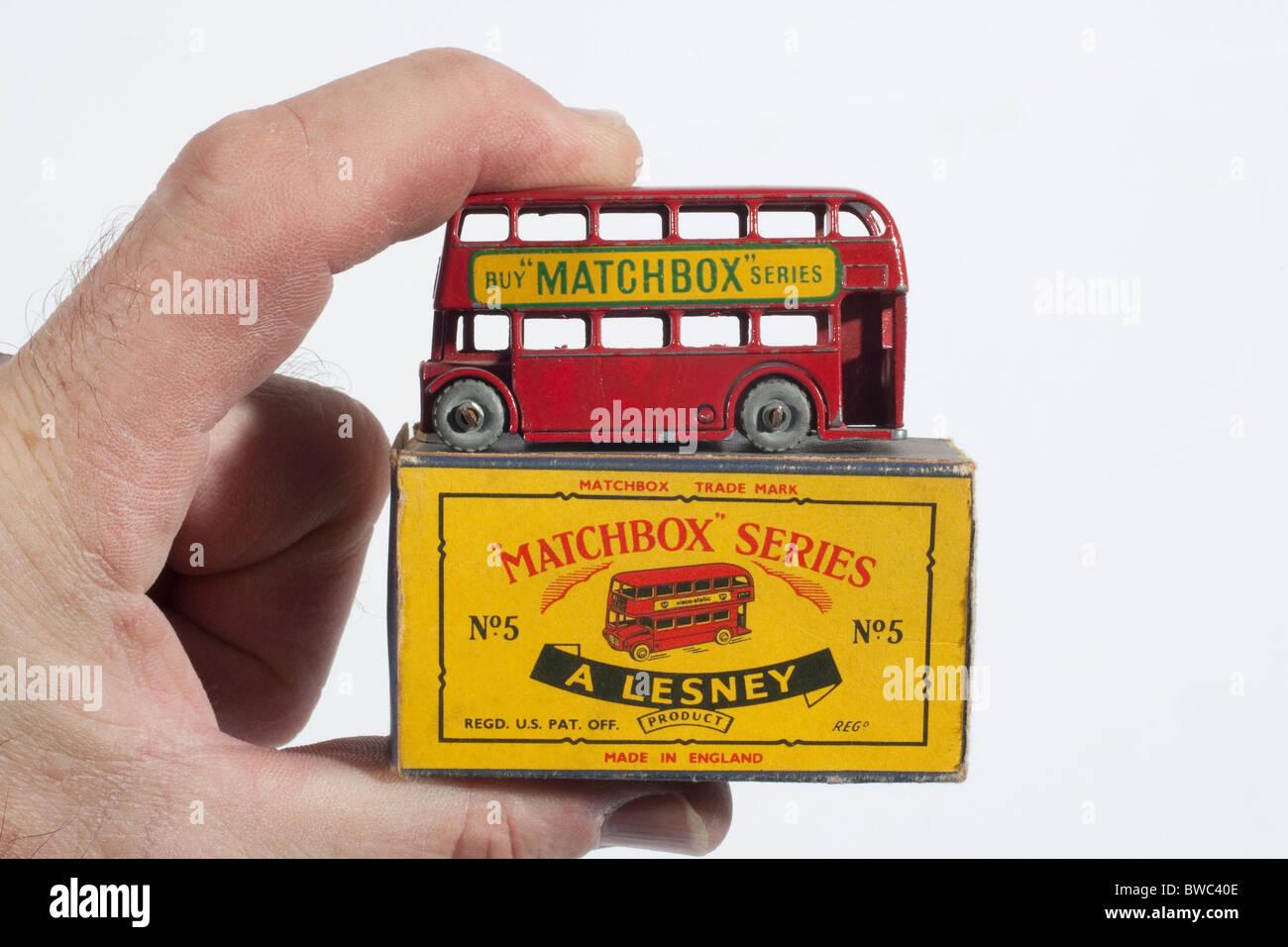 "Original vintage 1954 2 1/4"" Matchbox/Lesney model No.5 Routemaster London Bus and original box Stock Photo"