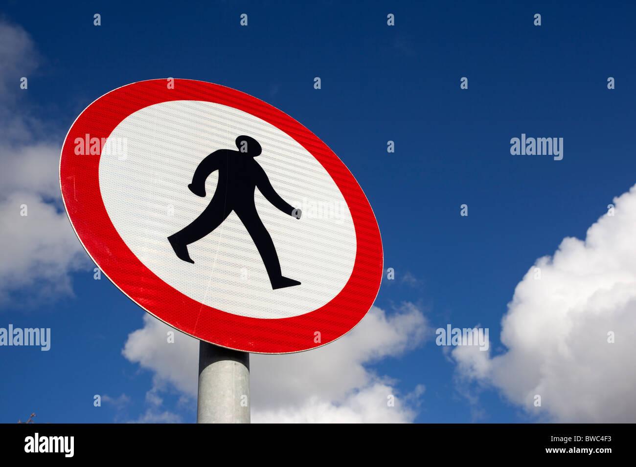No pedestrians British road sign close up. - Stock Image