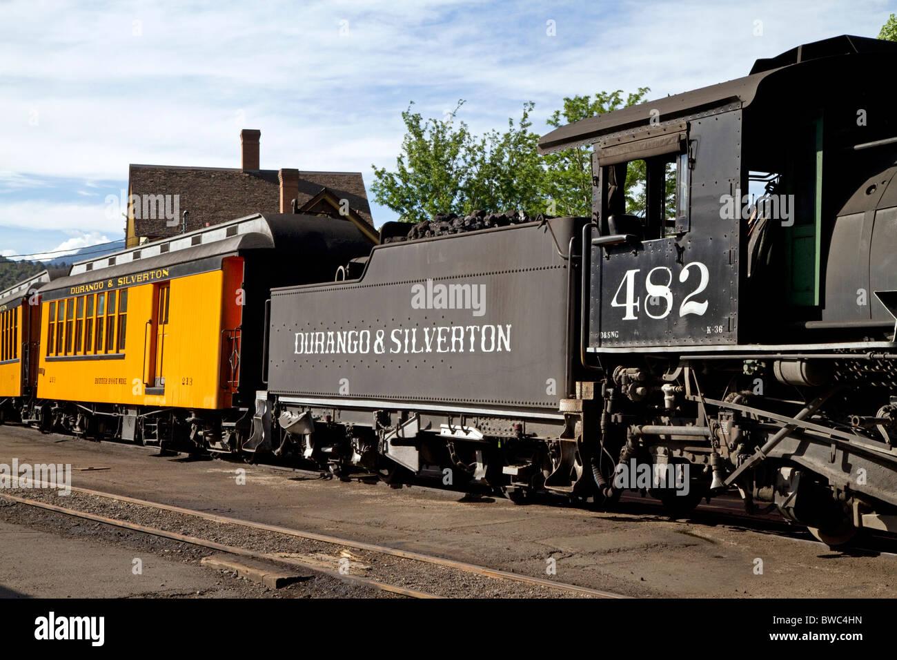 Steam locomotive on the Durango and Silverton Narrow Gauge Railroad located in Durango, Colorado, USA. - Stock Image
