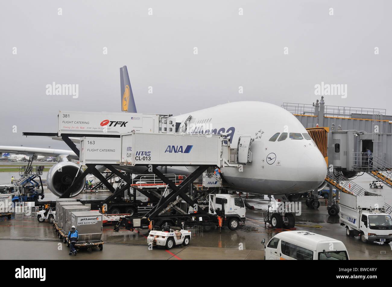 Aibus A 380, Lufthansa airlines, Narita airport, Japan - Stock Image