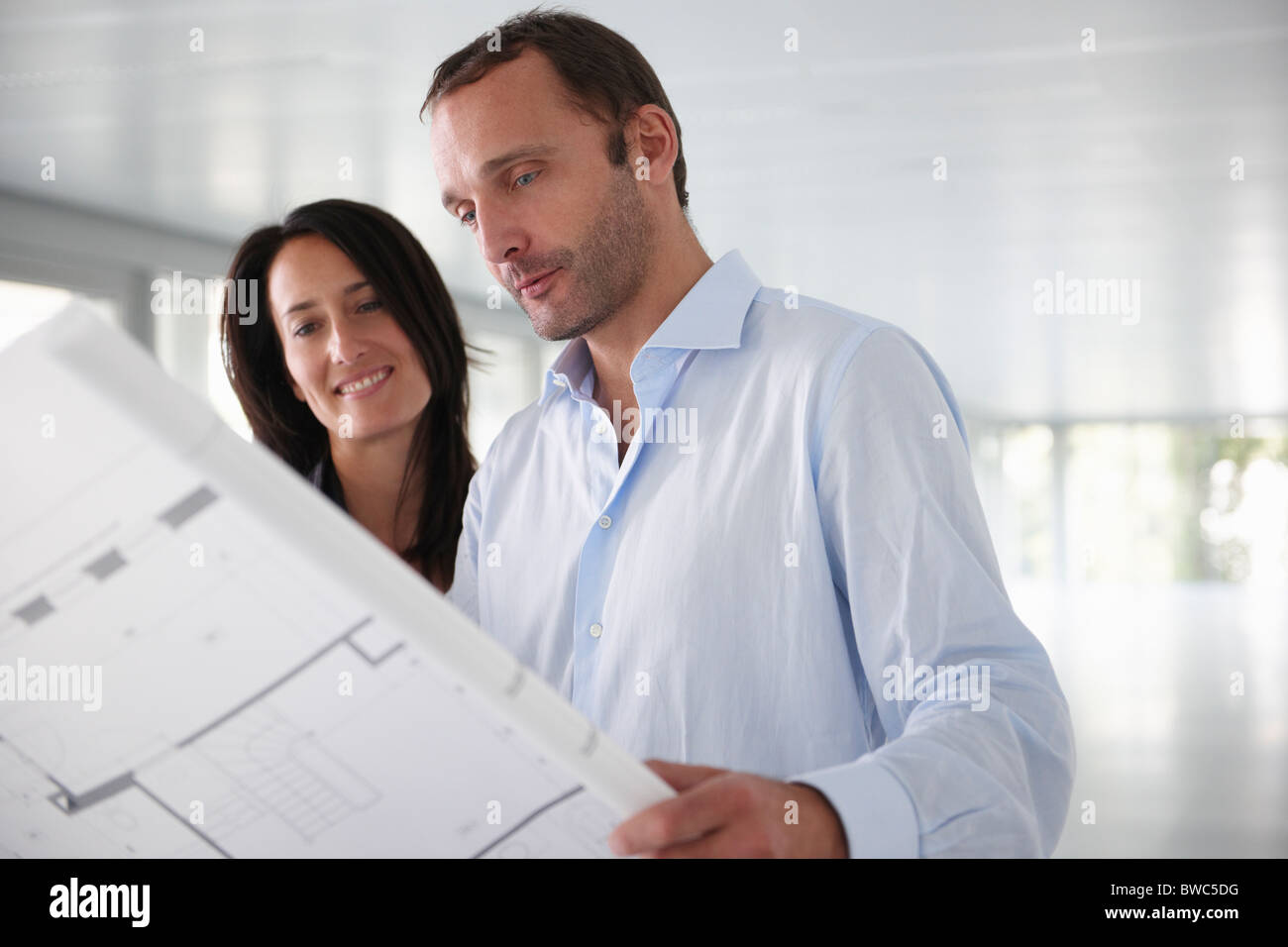Architects looking at blue prints - Stock Image