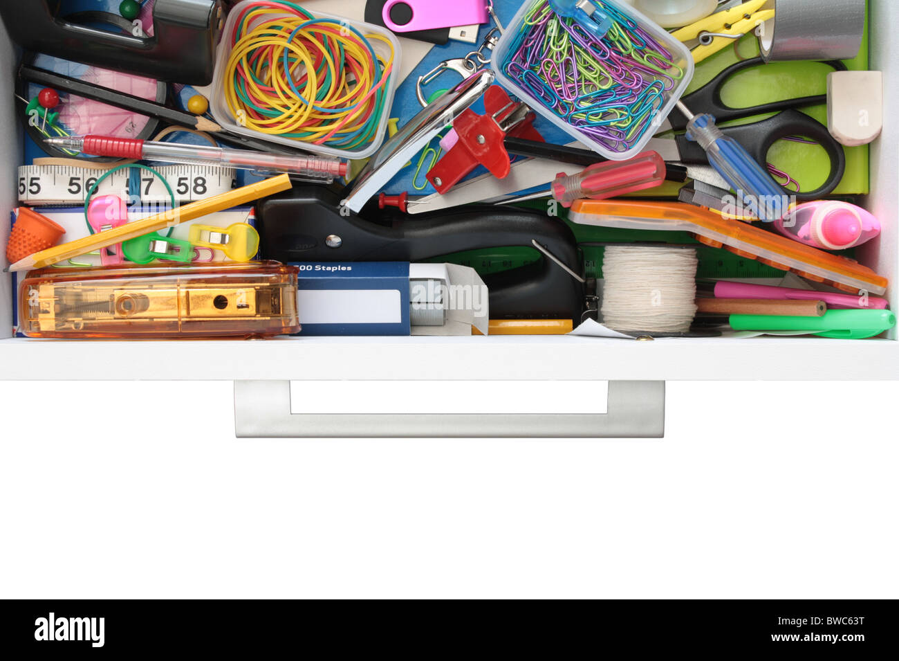 Secrets of the Stationery Drawer Exposed (on White) - Stock Image