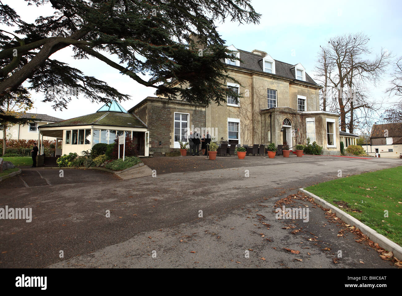 A country house hotel situated in The Heart of England and photographed in late autumn, early winter. Stock Photo