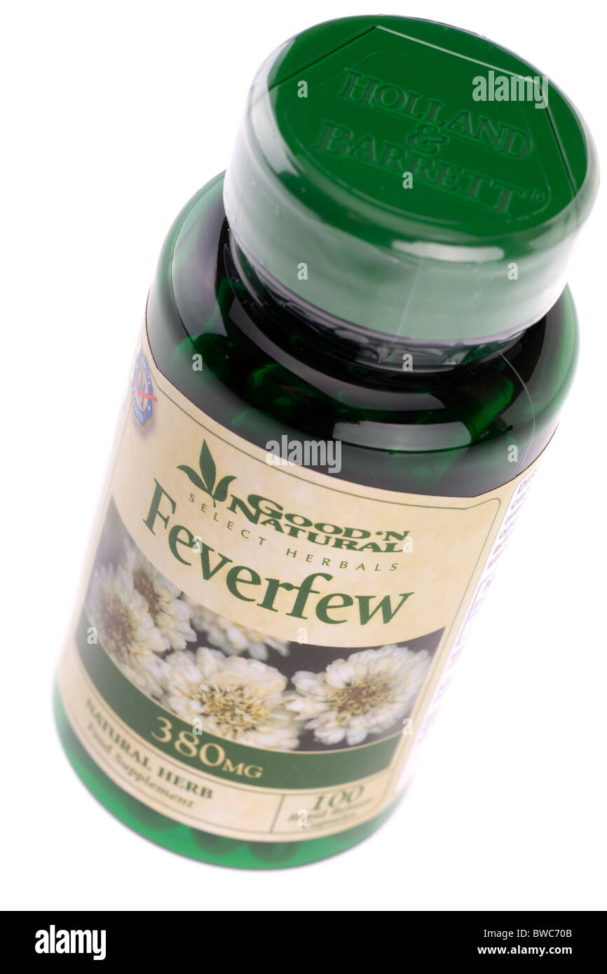 100 380mg feverfew natural herb food supplement rapid release capsules from Good n Natural - Stock Image