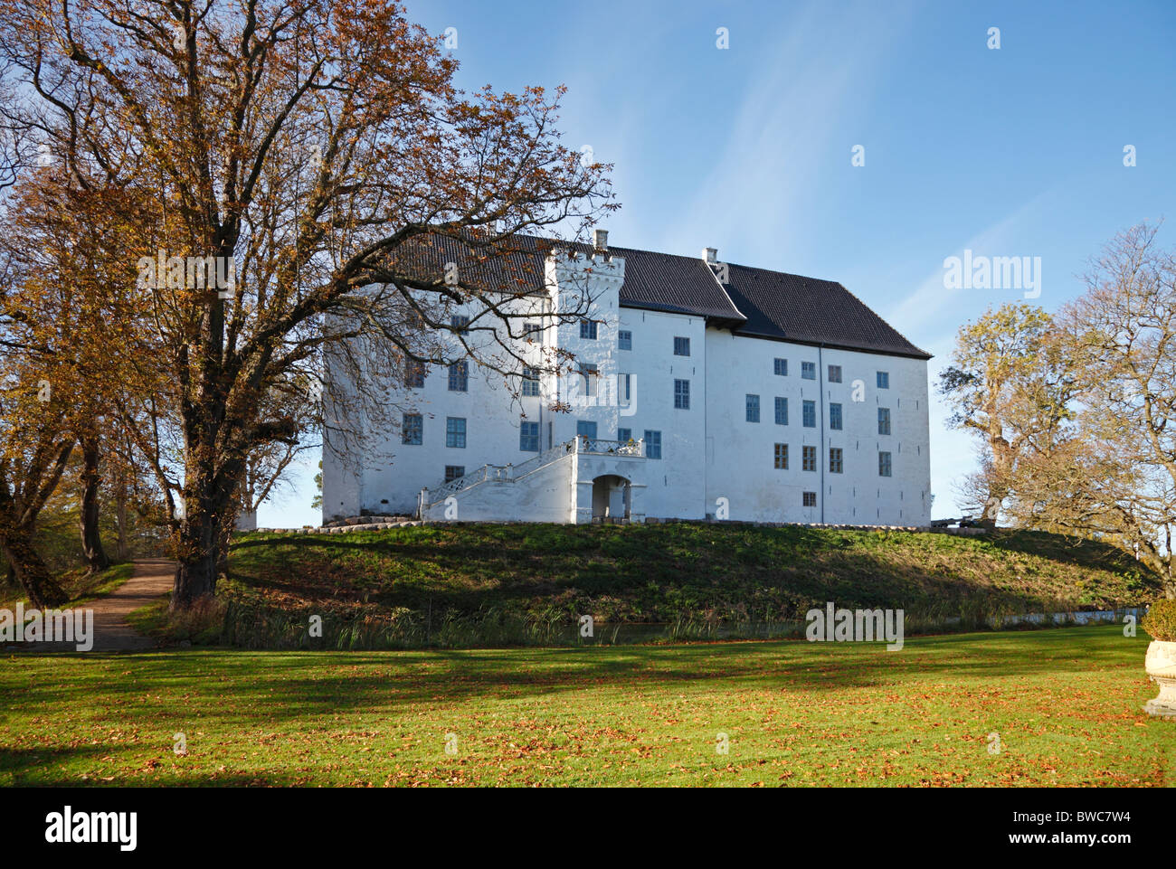 The apparently haunted 12th century medieval Dragsholm Castle in Hørve in north-western part of Zealand, Denmark. Stock Photo