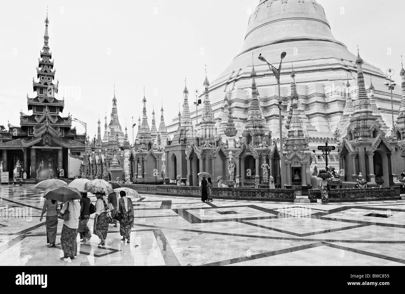 shwedagon paya temple in yangon rangoon myanmar burma burmese buddhist view in rain - Stock Image