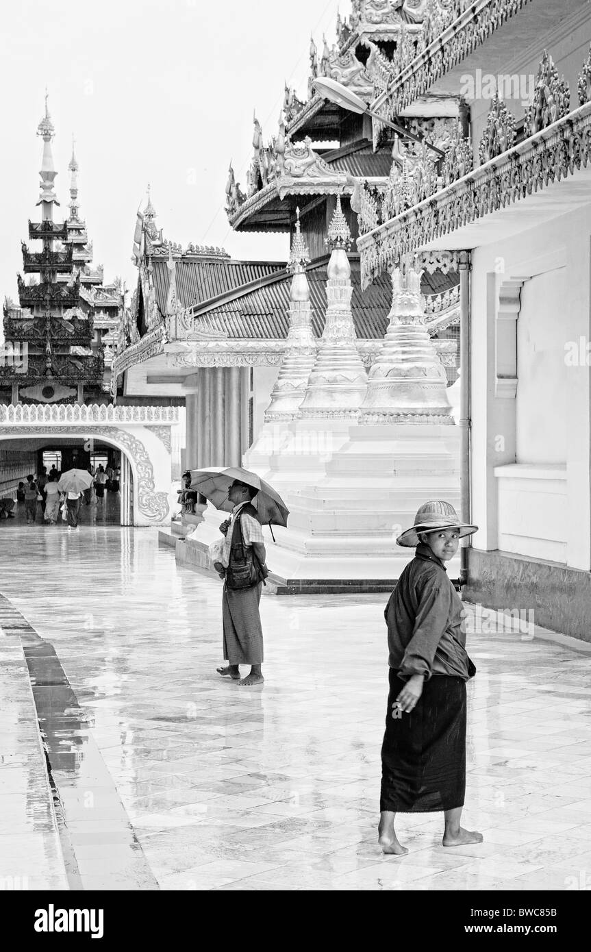 shwedagon paya temple in yangon rangoon myanmar burma burmese buddhist view Stock Photo