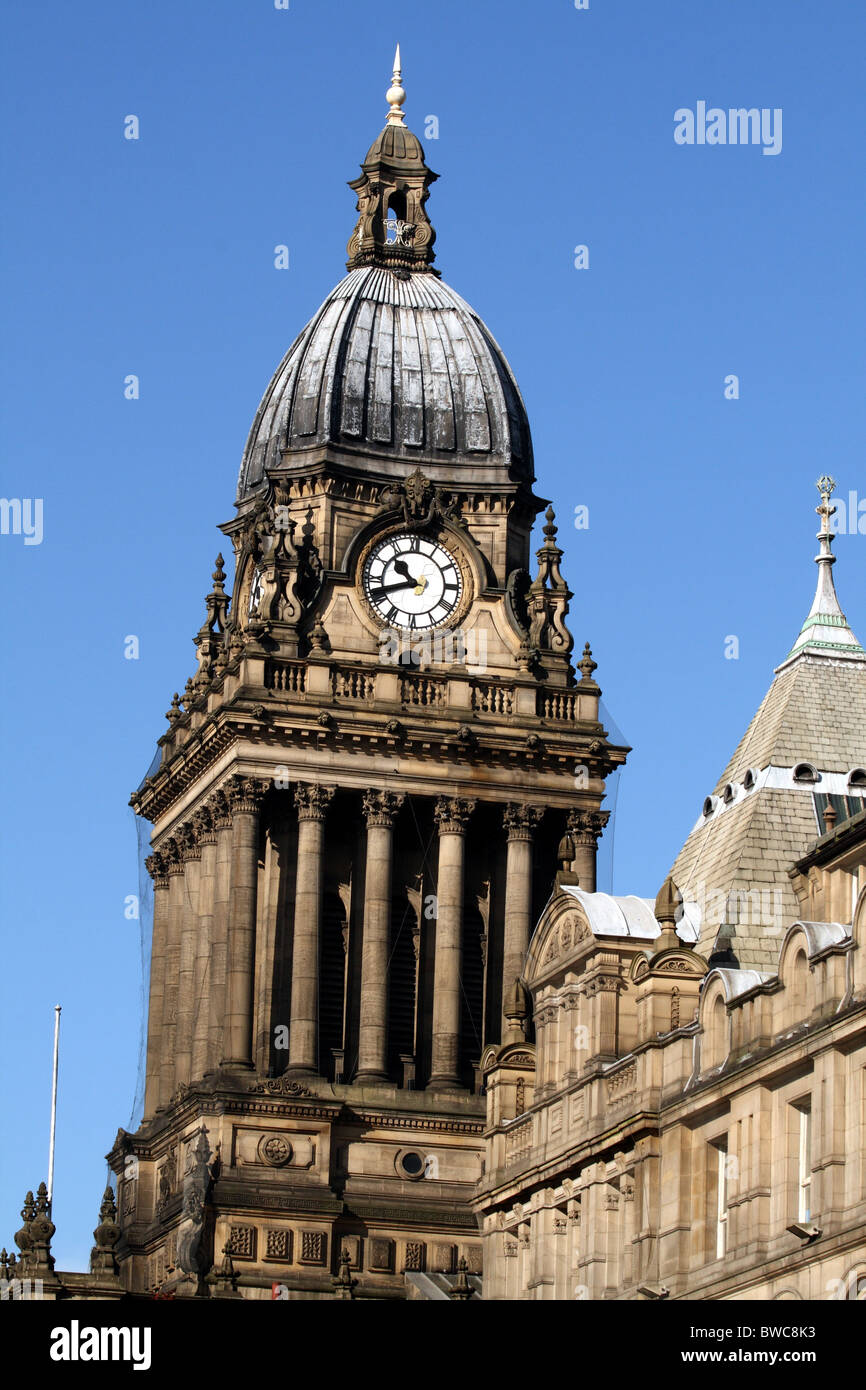Leeds Town Hall designed by Cuthbert Brodick Leeds Yorkshire - Stock Image