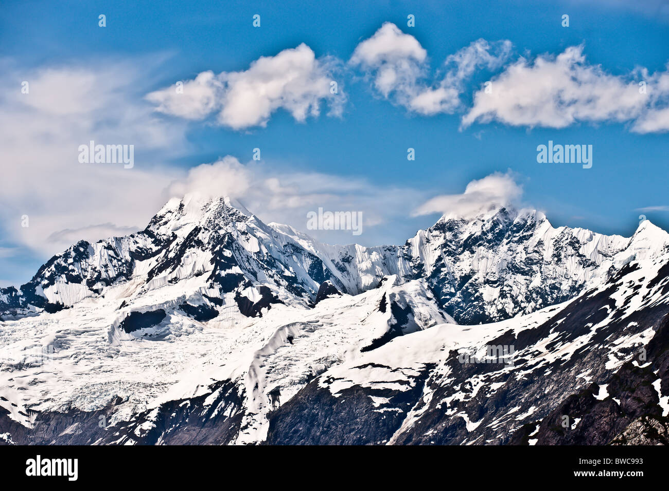 View of a mountain range of Alaska, Glacier Bay, Ice Caps and Mountains - Stock Image