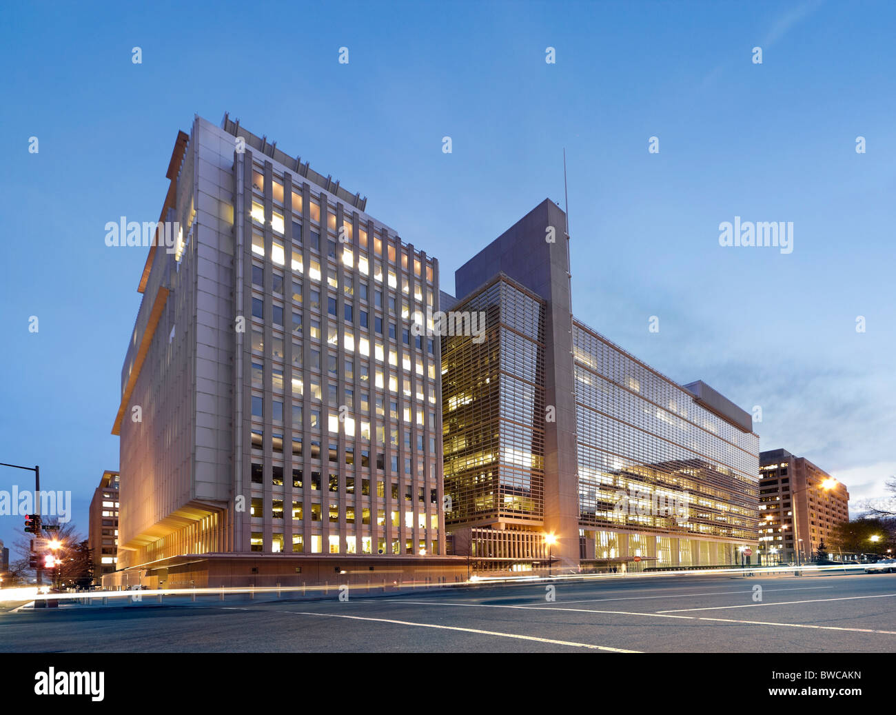 The World Bank Building headquarters main building at dusk. H Building 1818 H Street; Pennsylvania Avenue, Washington - Stock Image