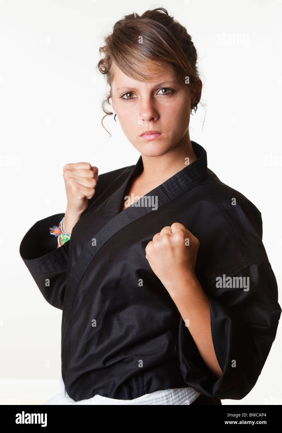 USA, California, Fairfax, Portrait of teen girl (14-15) wearing gi - Stock Image