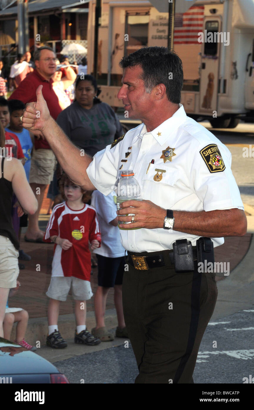 Anne Arundel County Sheriff campaigns  in a July4 parade in Annapolis, Maryland - Stock Image