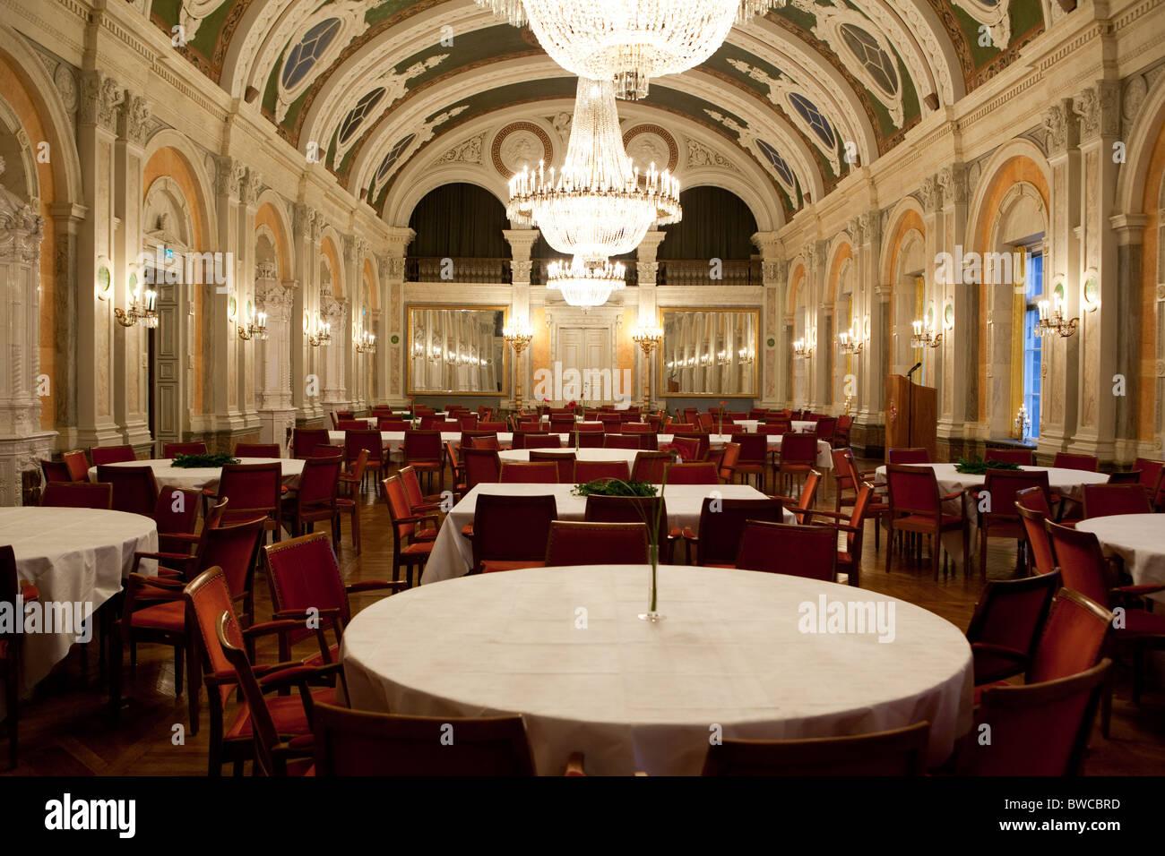 The dining room in City Hall, Malmo, Malmö. - Stock Image