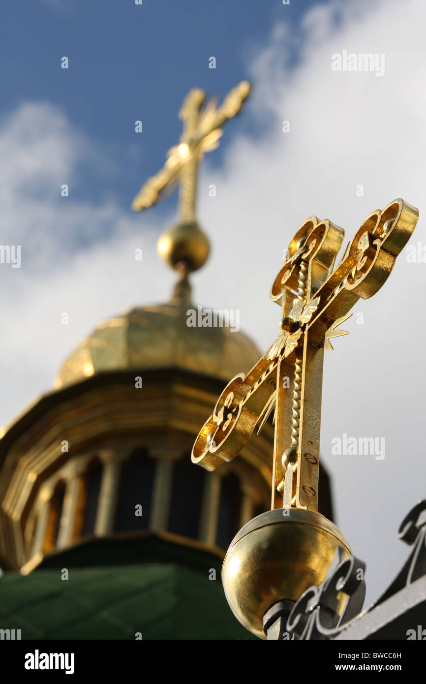 Cross on Saint Sophia cathedral in Kiev, Ukraine - Stock Image